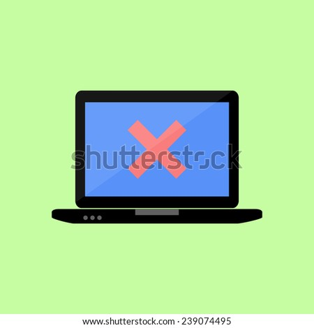 Personal laptop with red cross as error icon in flat style - stock photo