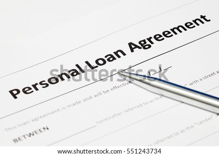 Personal Loan Agreement Form Document And Stainless Steel Pen