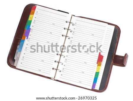 Personal organizer isolated on white background - stock photo