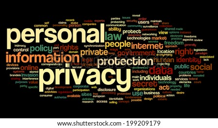 Personal privacy in word tag cloud on black  background - stock photo