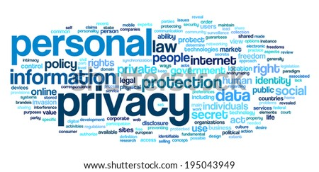 Personal privacy in word tag cloud on white background - stock photo
