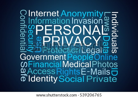 Personal Privacy Word Cloud on Blue Background