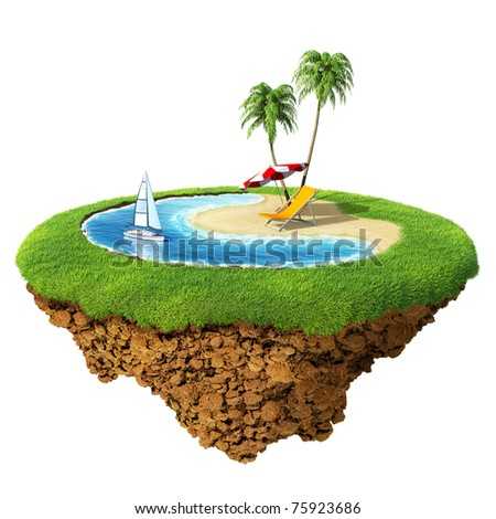 Personal resort on little planet. Concept for travel, holiday, hotel, spa, resort design. Tiny island / planet collection. - stock photo