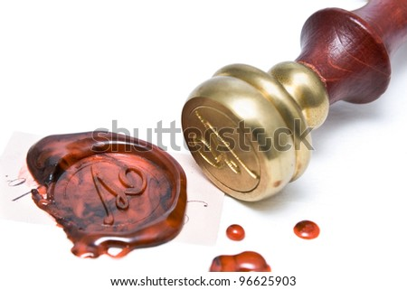 Personal stamp and wax seal isolated on white - stock photo