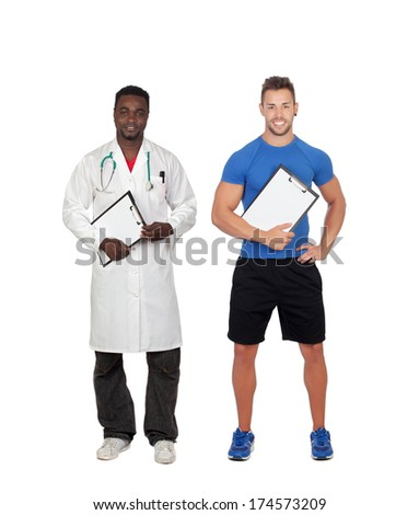 Personal trainer and african doctor isolated on a white background - stock photo