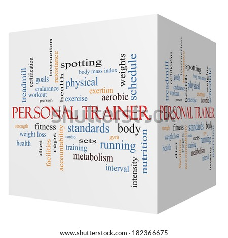 Personal Trainer 3D cube Word Cloud Concept with great terms such as fitness, exercise, aerobic and more. - stock photo