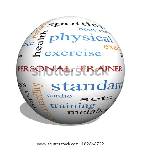 Personal Trainer 3D sphere Word Cloud Concept with great terms such as fitness, exercise, aerobic and more. - stock photo