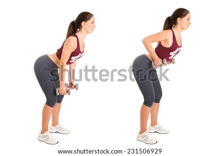 Personal Trainer doing bent over rows for training her lats, isolated in white - stock photo