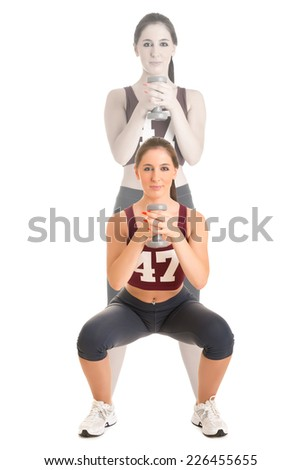 Personal Trainer doing dumbbell squat for training his legs, isolated in white - stock photo