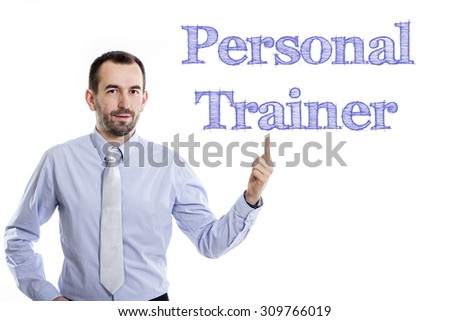 Personal Trainer - Young businessman with small beard pointing up in blue shirt - stock photo