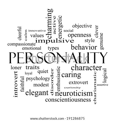 Personality Word Cloud Concept in black and white with great terms such as cheerful, character, behavior and more. - stock photo