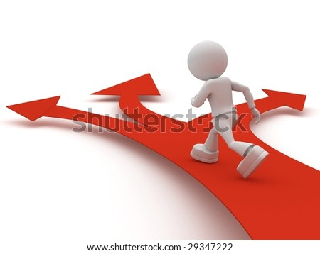 persons goes on red arrow - stock photo