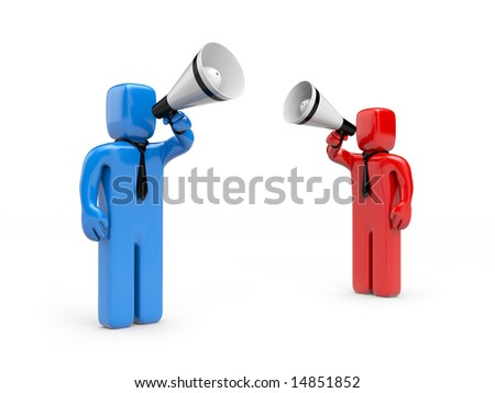 Persons speak in megaphone - stock photo