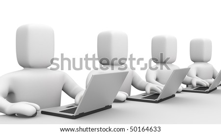 Persons work on laptop