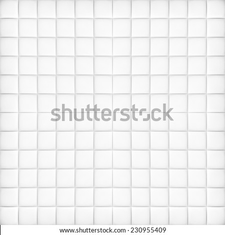 Perspective and closeup view to abstract space of empty light gray and white bath clean tile texture for the traditional business background in cold bright colors with lines, rectangles and squares. - stock photo