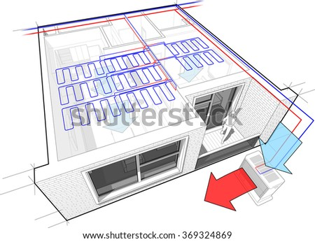 Perspective cut away diagram of a one bedroom apartment completely furnished with ceiling cooling and central external unit situated outside - stock photo