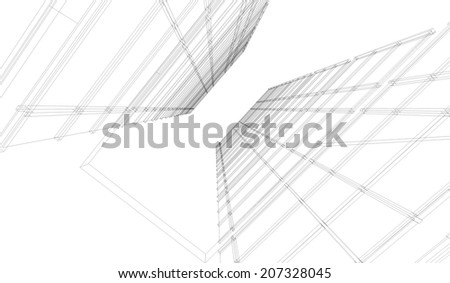 Perspective 3D render of building wireframe - stock photo