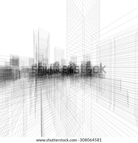 perspective 3 d render building wireframe abstract stock