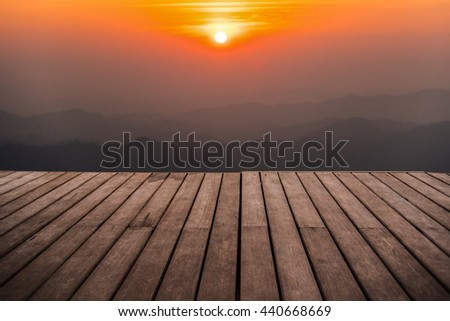 perspective empty wooden terrace with mountain in twilight time background usage for montage object