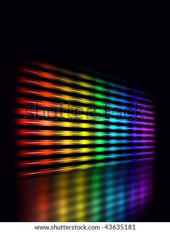 Perspective graphic equalizer display showing moving color light bars on  black background