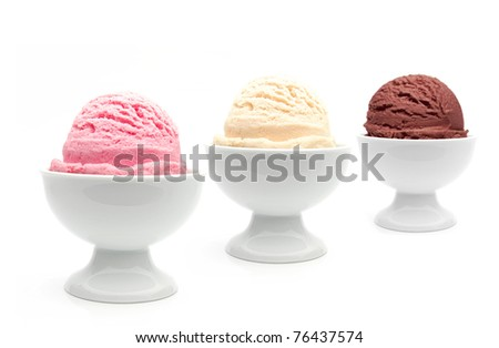 Perspective ice cream bowls with bokeh - stock photo