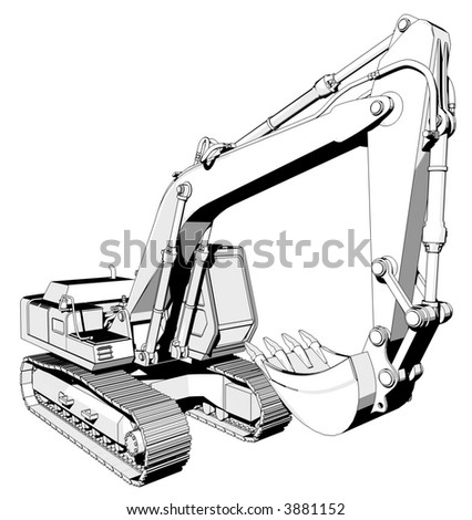 Perspective illustration of a digger.