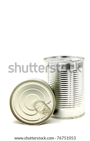 perspective Isolated of Aluminum metal can on white background - stock photo