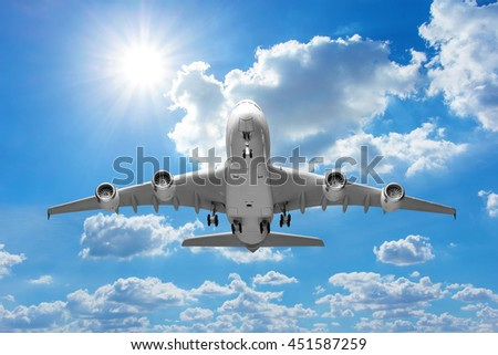 Perspective of airplane takeoff to the beautiful sky  - stock photo