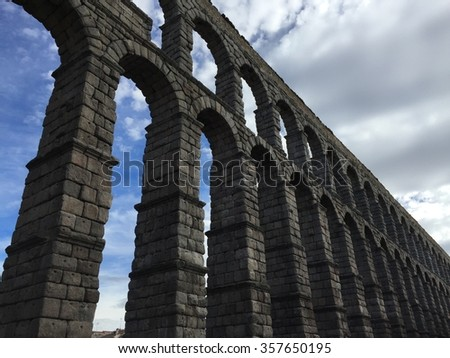 Perspective of Ancient roman aqueduct, Segovia Spain