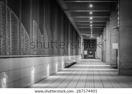 Perspective of corridor in the modern office building