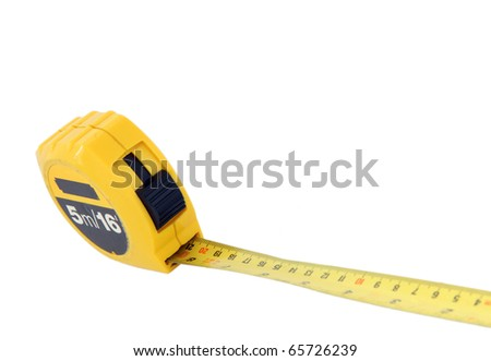 perspective of measuring tape for construction isolated on white - stock photo