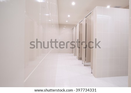 Perspective of public restroom - stock photo
