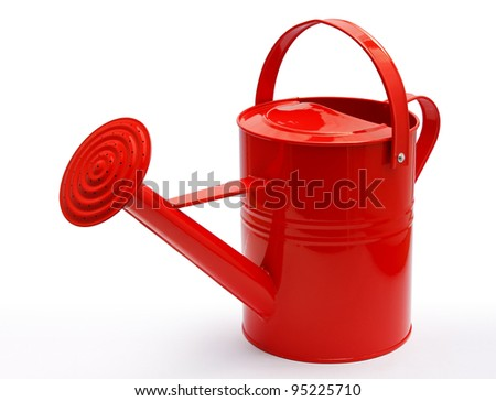 perspective of red watering can - stock photo