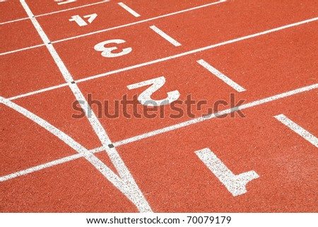 perspective of starting grid line - stock photo