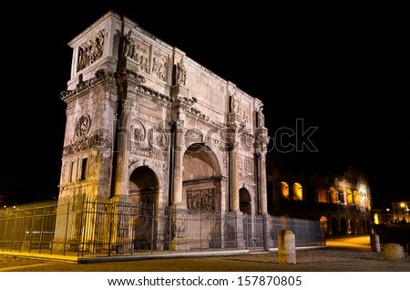 Perspective of the Arch of Constantine in Rome at night - stock photo