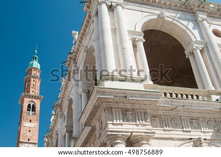 Perspective of the famous Palladian Basilica and the clock tower, Vicenza
