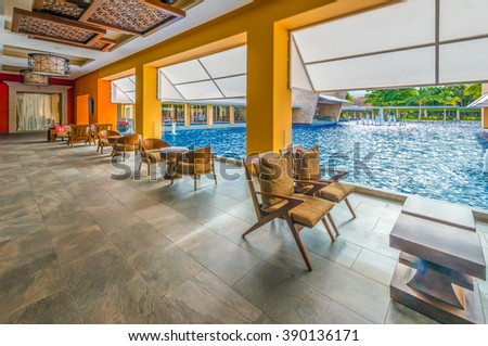 Perspective of the modern caribbean, tropical style lobby, deck, patio, promenade.  Exterior, interior design.