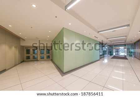 Perspective of the modern lobby, hallway of the five stars luxury hotel, shopping mall, business center in Vancouver, Canada. Interior design. - stock photo
