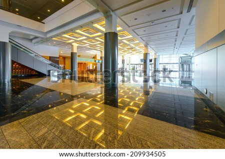 Perspective of the modern lobby, hallway of the luxury hotel, shopping mall, business center in Vancouver, Canada. Interior design. - stock photo