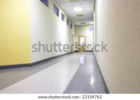 Perspective of the office corridor - stock photo
