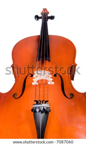 Perspective shot of woodgrain finished cello isolated over white - stock photo