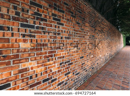 Perspective Side View Of Old Red Brick Wall Texture Background