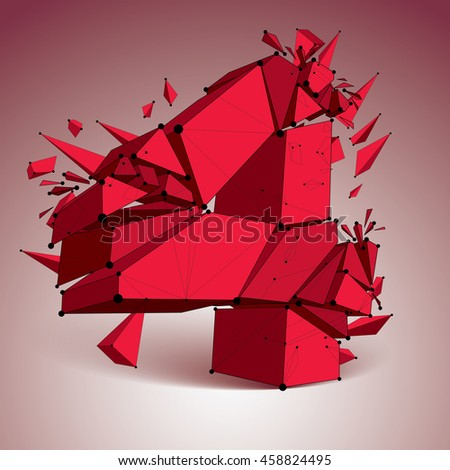 Perspective technology demolished red number 4 with black lines and dots connected, polygonal wireframe font. Explosion effect, abstract faceted element cracked into multiple fragments. - stock photo