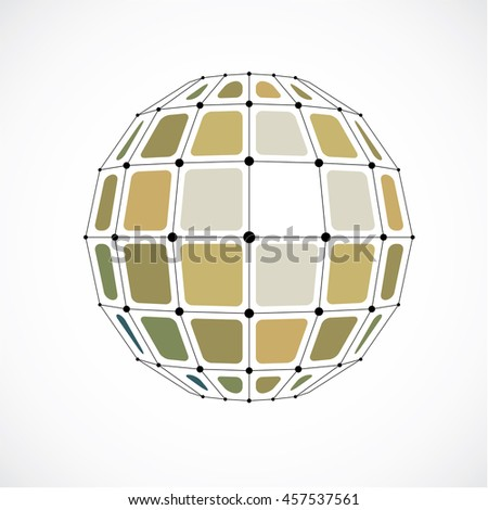 Perspective technology shape with black lines and dots connected, polygonal wireframe object. Abstract yellow faceted element for use as design structure on communication technology theme