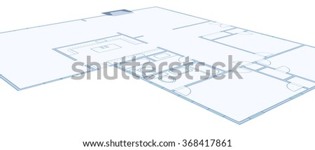 Perspective view of a blueprint of a residential home