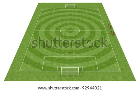 perspective view of a football field with the grass cut circularly - rendering - stock photo