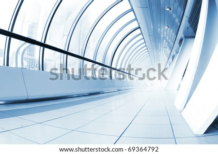 Perspective view of a long corridor - stock photo
