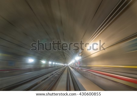 Perspective view of a moving train