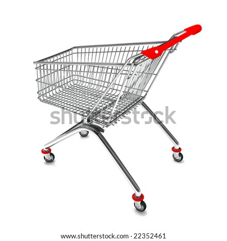 Perspective view of a shopping cart in 3D - stock photo