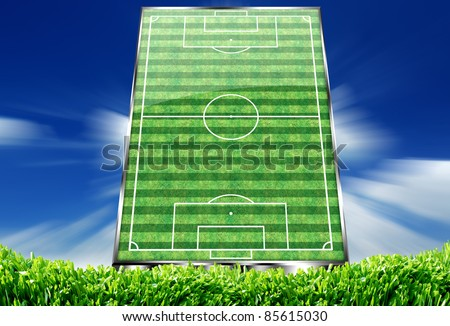 perspective view of an empty soccer field - stock photo